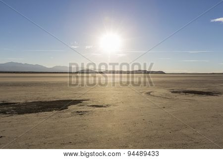 Afternoon sun at El Mirage dry lake in California's Mojave desert.