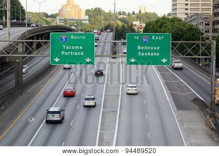 I5 South Freeway In Seattle