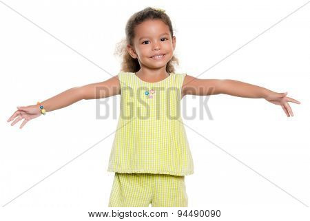 Small african-american or hispanic girl smiling with her arms wide open isolated on white