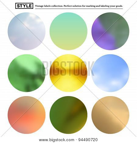 Set of colorful blurred round spots
