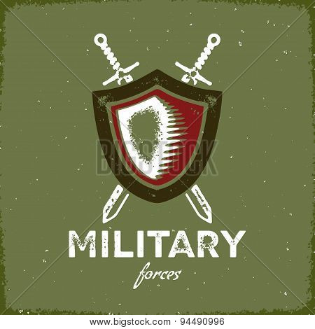 Vintage military label with shield and crossed swords