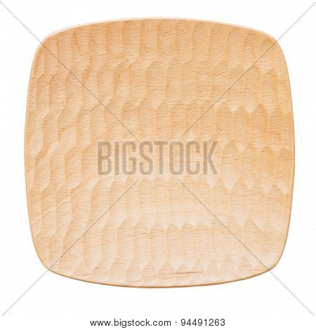 Natural wood plate isolated on white background