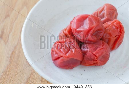 Umeboshi Japanese traditional food salt plums or pickled plums