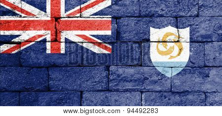 Flag Of Anguilla On Old Brick Wall.