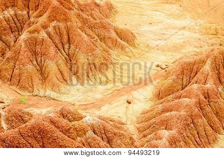 Aerial View To Red Sand Formations Of Tatacoa Desert