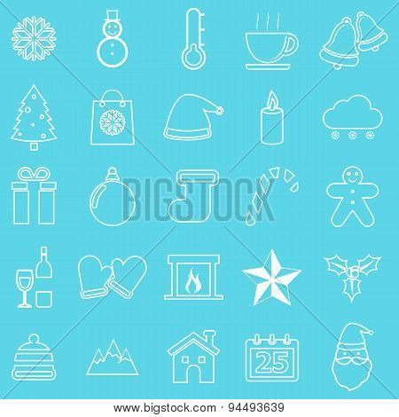 Winter Line Icons On Blue Background
