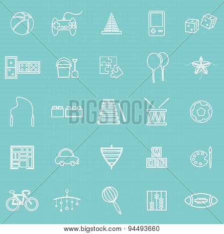 Toy Line Icons On Green Background
