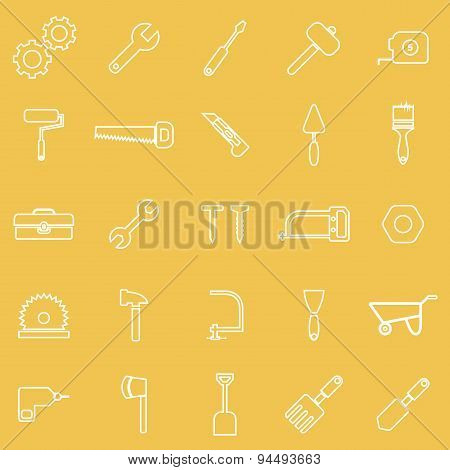 Tool Line Icons On Yellow Background