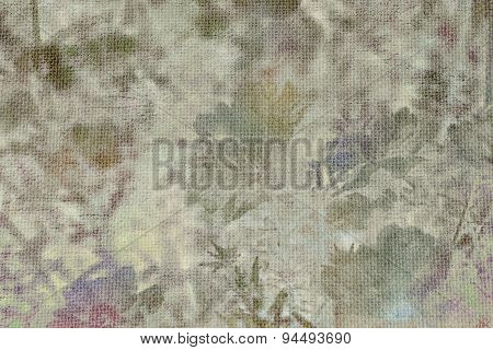 Abstract blurred flower on burlap textured backgroundvintage-retro style