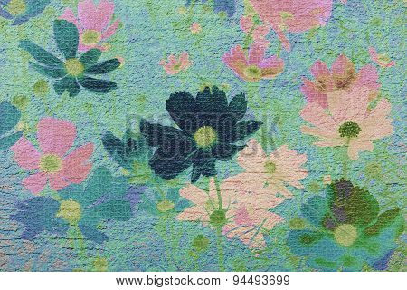 Cosmos flower on cement textured background made vintage-retro style