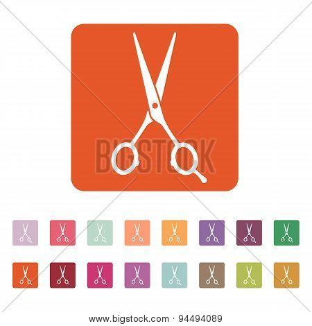 The Hairdressing Scissors Icon. Barbershop Symbol. Flat