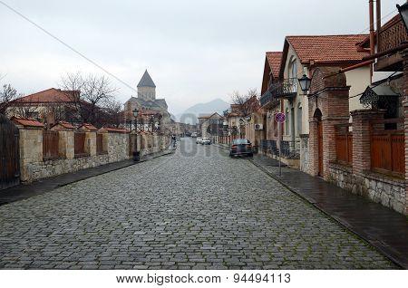 Streets of Mtskheta - ancient capital of Georgia, after the rain
