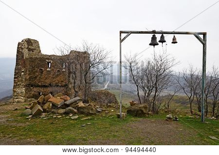 Remains of tower and belfry near temple Jvari. Mtskheta, Georgia