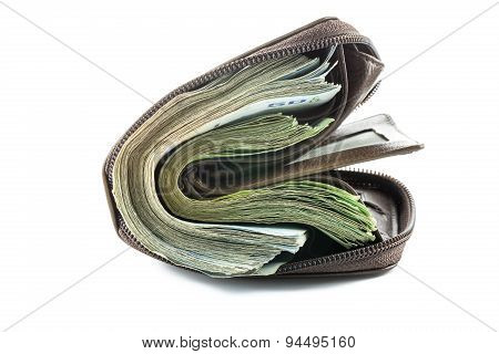 Wallet With Money Isolated On White Background