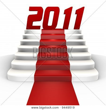 New Year 2011 on a red carpet - a 3d image