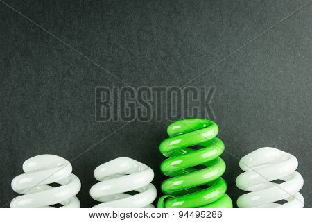 Energy Saving Light Bulbs Business Concept Of Differentiation