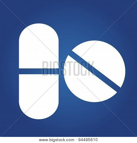 medical icon -Tablets. Icon isolated on blue background. Logo design