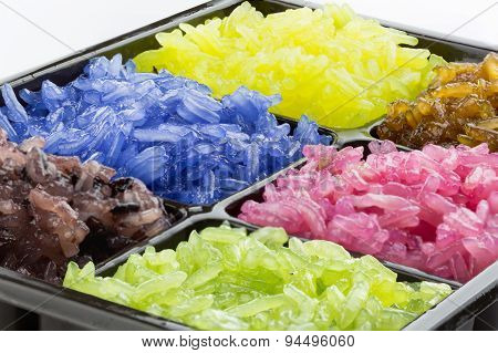 Colorful Sticky Rice Steamed With Coconut Milk