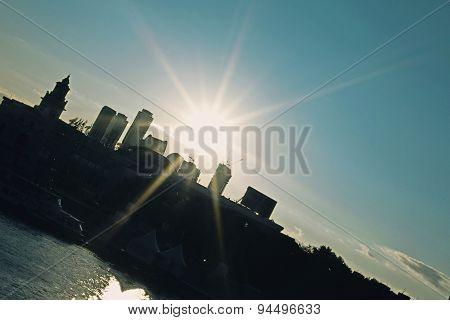 City Landscape With Silhouettes Of Buildings