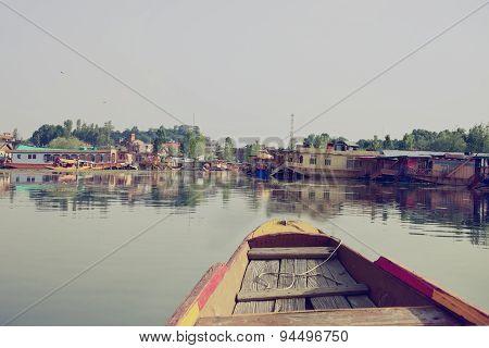 Houseboats On The Lake In Srinaga