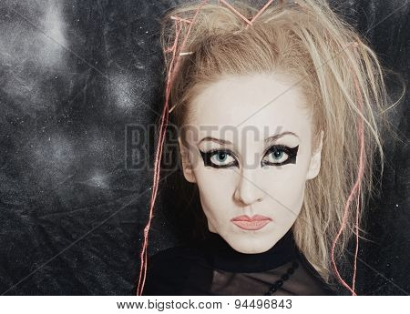Woman With Bright Gothic Makeup Closeup
