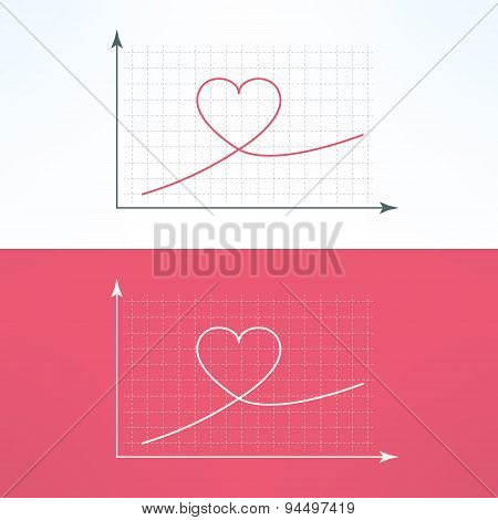 Vector graphic chart with heart icon. Loving and liking raise diagram graph