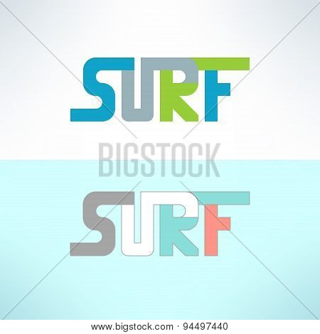 Vector surf colorful text design background. Surfing t-shirt print