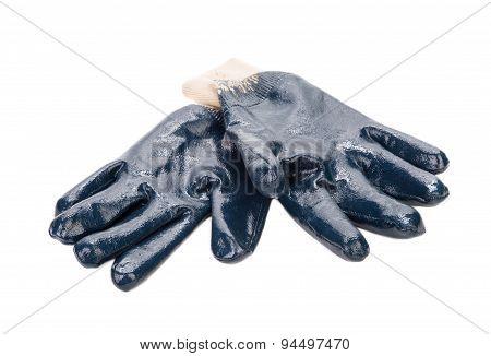 Close up of blue rubber glove.