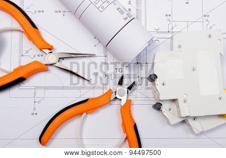 Electrical Diagrams, Electric Fuse And Work Tools On Drawing