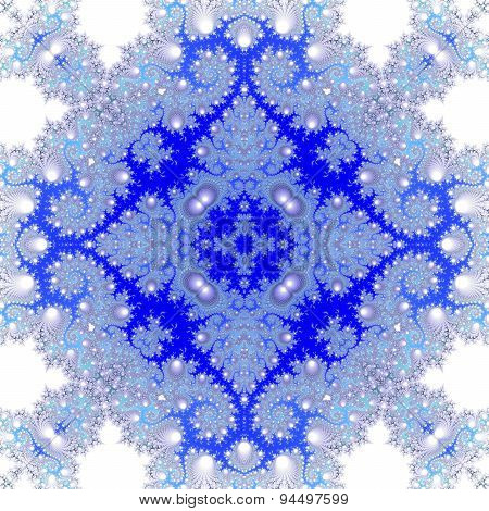 Blue white monochromatic decorative seamless fractal floral pattern