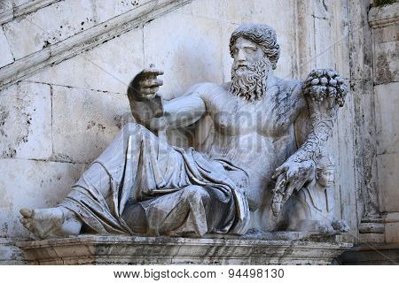 The Nilo Statue Dating Iv Century In Rome, Italy