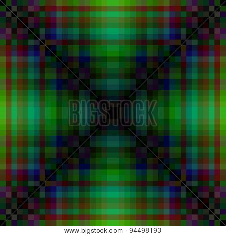 Abstract greenish pixellated design with distinctive saltire element