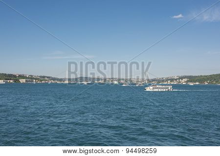 View Over The Bosphorus Rive In Istanbul Turkey
