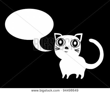 White cat with communication bubble on black background