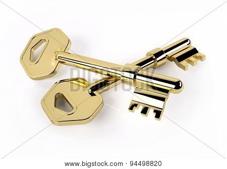 Two Golden Key Isolated On White