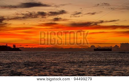 Container Ship At Dawn