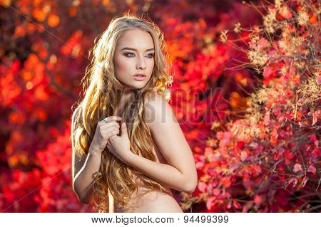 young woman on a background of red and yellow autumn leaves with beautiful curly hair his chest, no