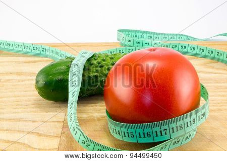 Cucumber And Tomato With Measuring