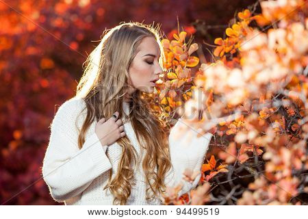 young woman on a background of red and yellow autumn leaves with beautiful curly hair