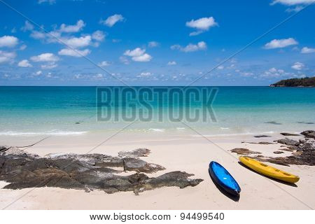 Landscape with beach, the sea and the beautiful clouds in the blue sky