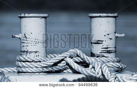 Big Mooring Bollard With Nautical Ropes, Blue Toned