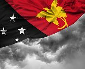 foto of papua new guinea  - Papua New Guinea waving flag on a bad day - JPG