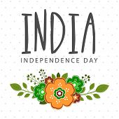 pic of saffron  - Greeting card design decorated with saffron and green color flowers for Indian Independence Day celebration - JPG