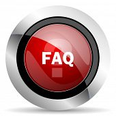 picture of faq  - faq red glossy web icon original modern metallic and chrome design for web and mobile app on white background   - JPG