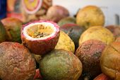 image of passion fruit  - fresh passion fruit on a table at the market - JPG