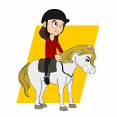 foto of pony  - Illustration of a cute little girl riding a pony isolated on a white background - JPG