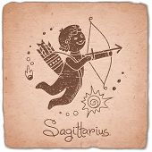 foto of zodiac sign  - Sagittarius zodiac sign horoscope vintage card - JPG