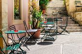 picture of greek-island  - The traditional greek cafe on  old town Kerkyra Corfu island Greece - JPG