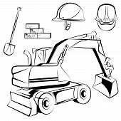 stock photo of backhoe  - Set of building accessories such as a helmet - JPG