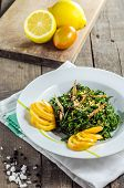 stock photo of fern  - recently shot of fern dish with vegetables on the table in kitchen - JPG